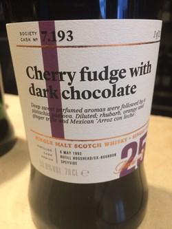 SMWS 7.193 Cherry fudge with dark chocolate